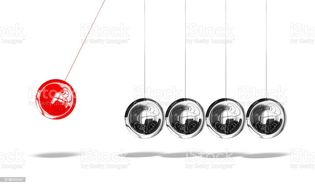 Newton cradle with one red ball isolated on white background stock photo