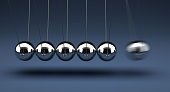 Newtons cradle being demonstrated