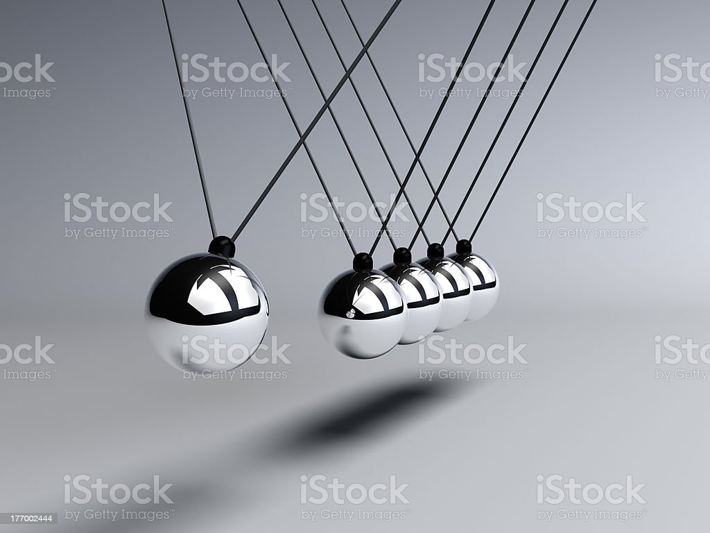 Newtons Cradle close up stock photo