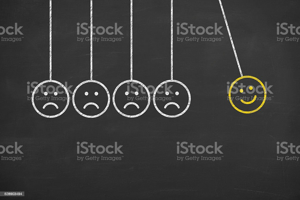 Newtons Cradle Happy Drawing on Chalkboard stock photo