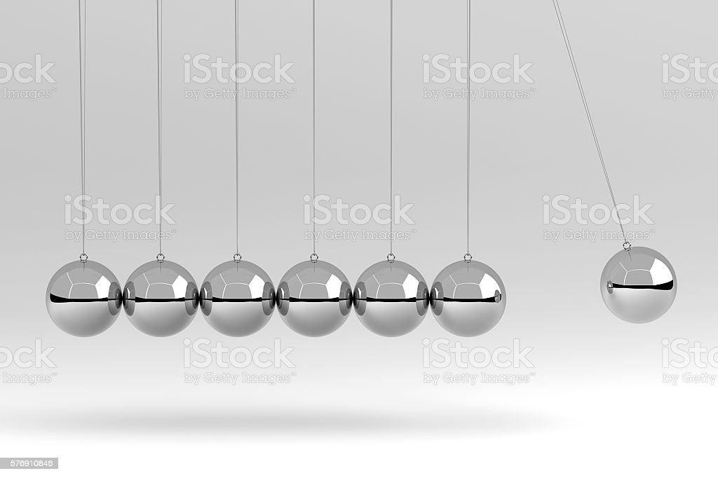 Newton's Cradle Isolated on White, 3D Rendering stock photo