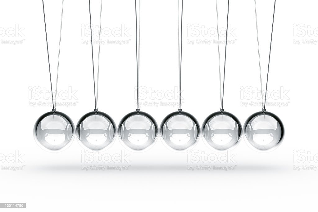 Newtons cradle made in glass stock photo