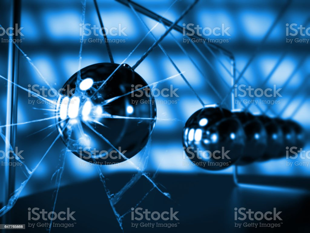 Newton's cradle with broken glass, blue silver cradle on dark surface vector art illustration