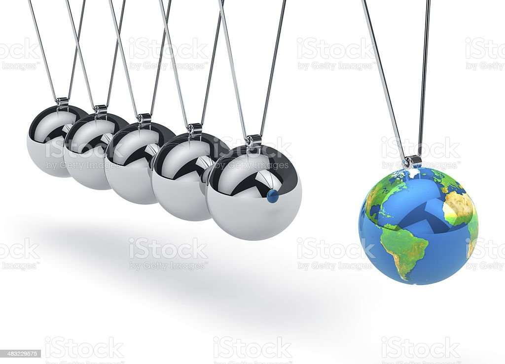 Newton's cradle with Earth globe royalty-free stock photo