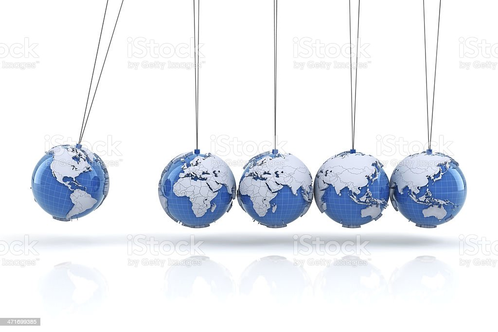 Newton's cradle with Earth globes stock photo