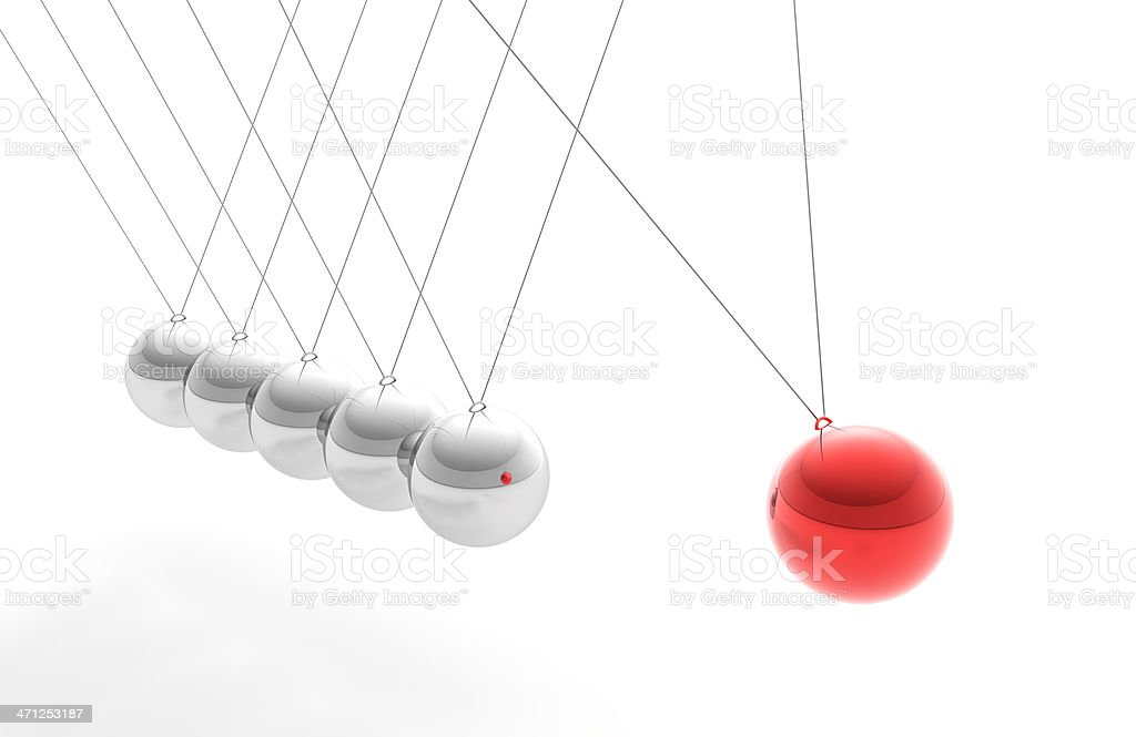 Newton's Cradle with Red Sphere, Individuality Concept (XXXL) stock photo