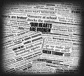Newtown school massacre newspaper collage