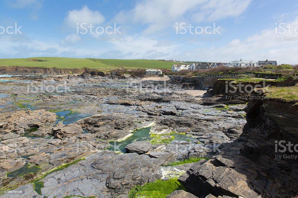 Newtrain Bay North Cornwall near Padstow and Newquay rocky coast stock photo
