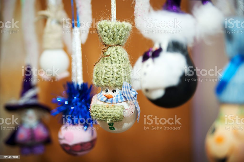 New-year handmade toys. Nice snow man. stock photo