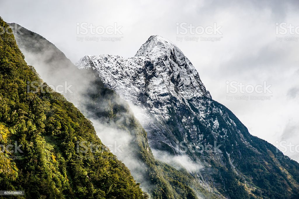 New-Zealand mountain Milford Sound during winter stock photo