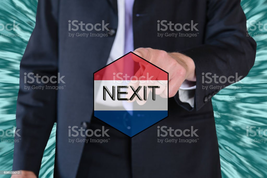 nexit (dutch elections) and eu flag and a business man stock photo