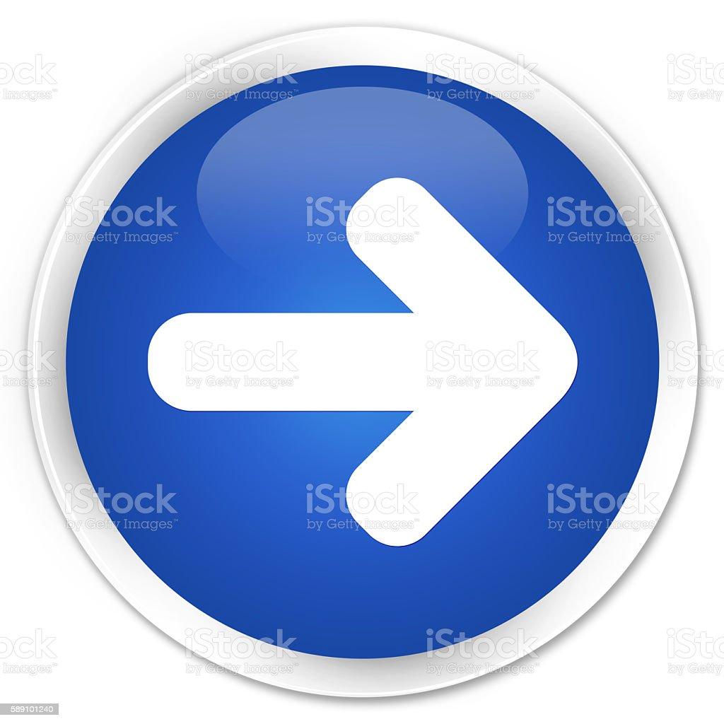 Next arrow icon blue glossy round button stock photo