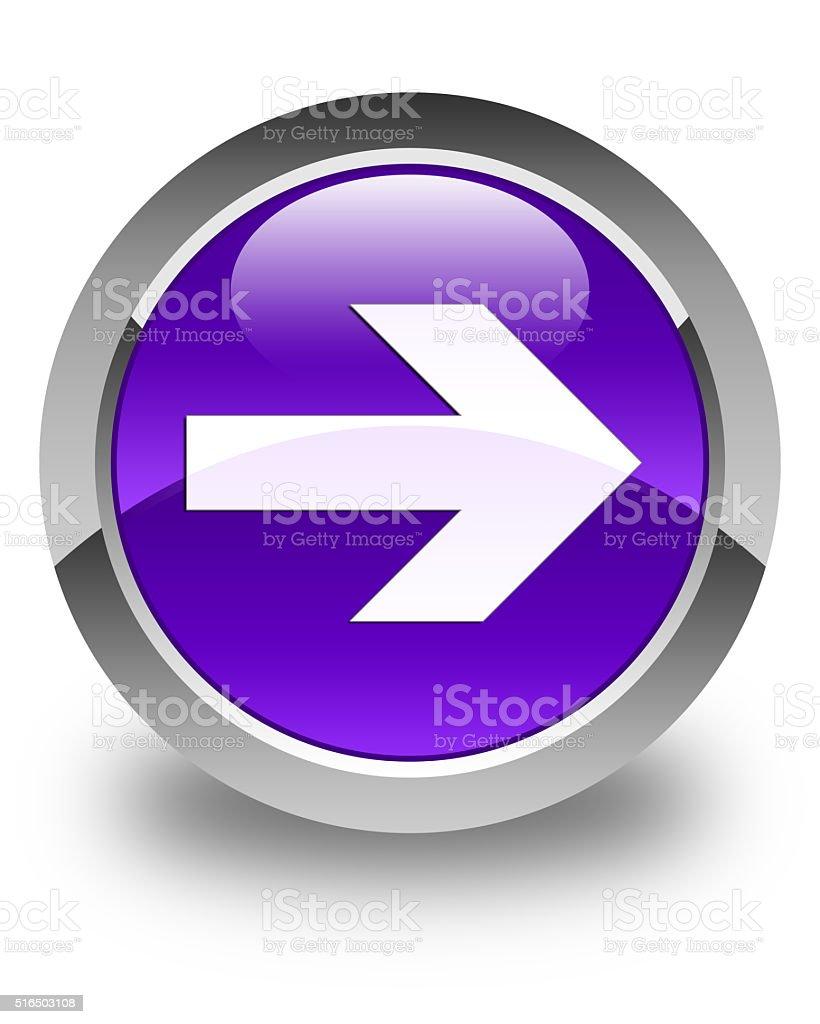 Next arrow icon glossy purple round button stock photo