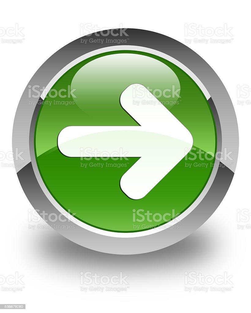 Next arrow icon glossy soft green round button stock photo