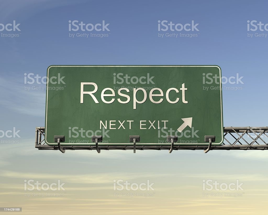 Next exit road sign for the town name Respect royalty-free stock photo