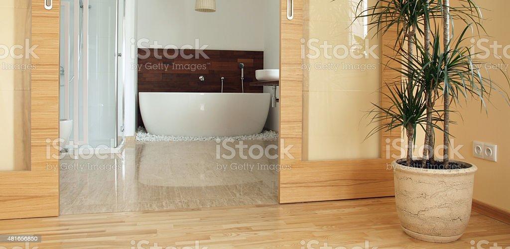 En suite parents' bathroom stock photo