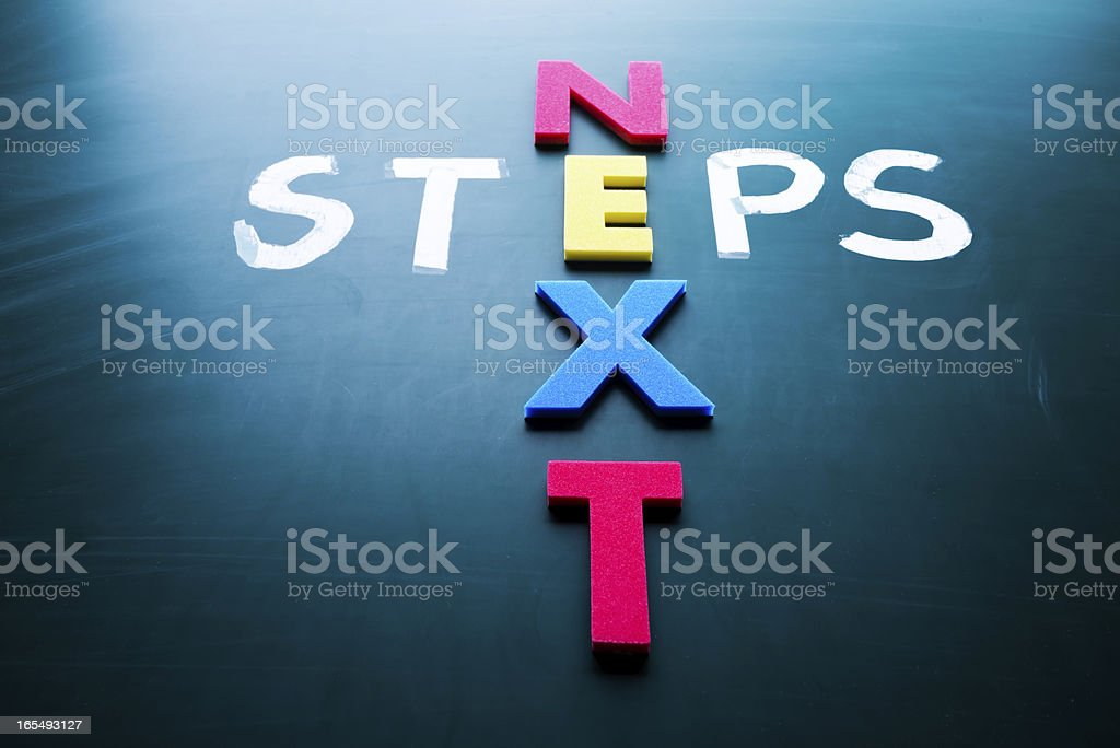 Next steps in a cross pattern using colorful letters royalty-free stock photo