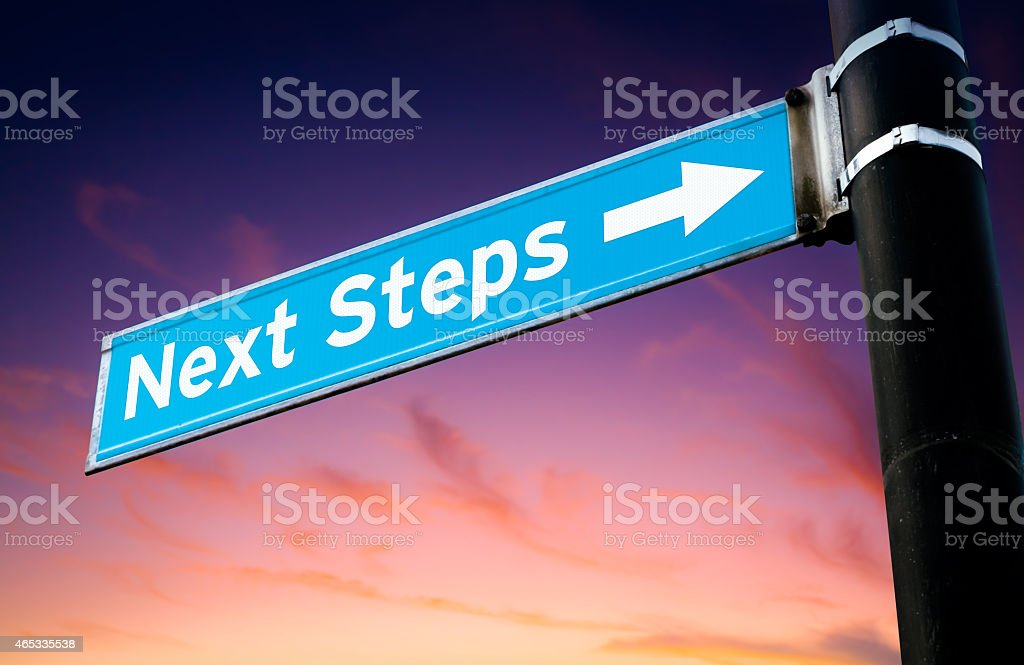 Next Steps Road Sign stock photo