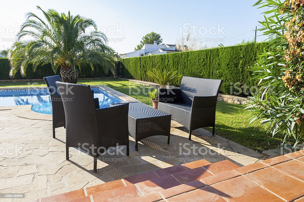 Next to the pool royalty-free stock photo