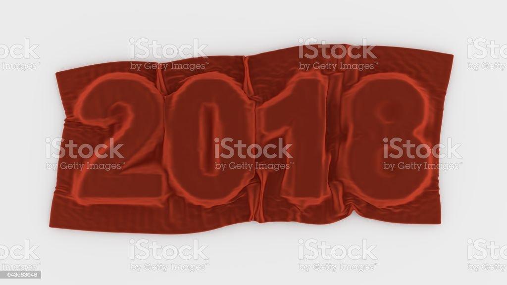 Next Year 2018 Sign Red Velvet Shrouded stock photo
