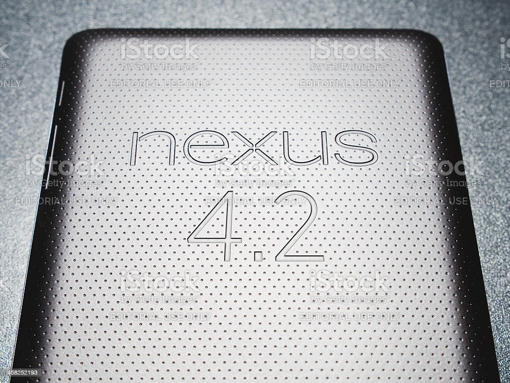 Nexus 7 tablet with android 4.2 royalty-free stock photo