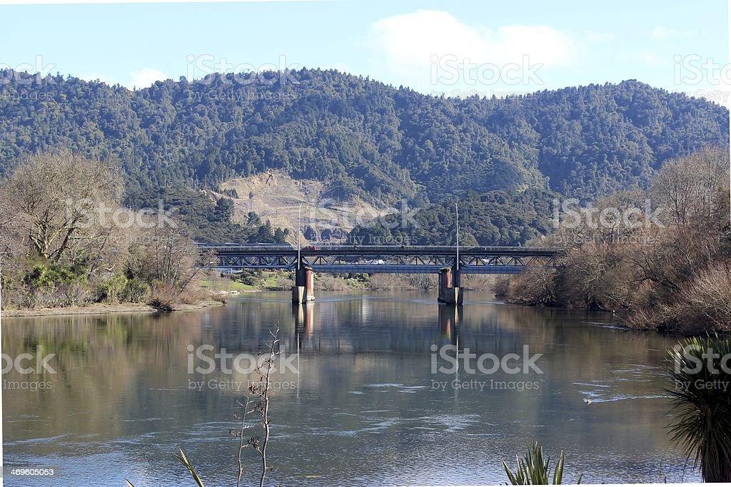 Ngaruawahia railway bridge stock photo