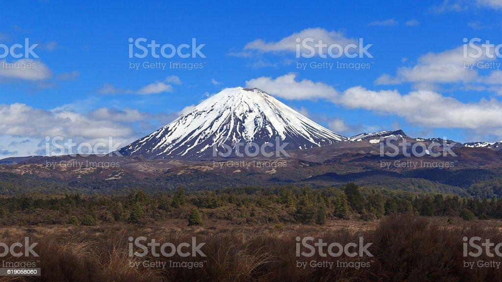 Ngauruhoe volcano in Tongariro National Park, New Zealand stock photo