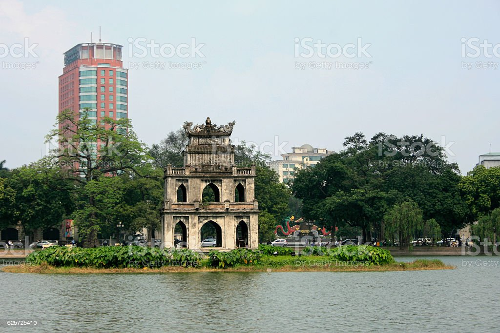 Ngoc Son Temple in Hanoi stock photo