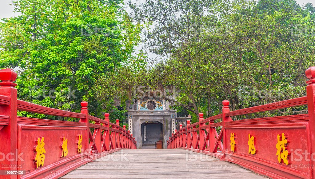 Ngoc Son Temple, The Huc bridge the centenary stock photo