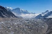 Ngozumpa glacier in Sagarmatha National Park, Himalayas, Nepal.