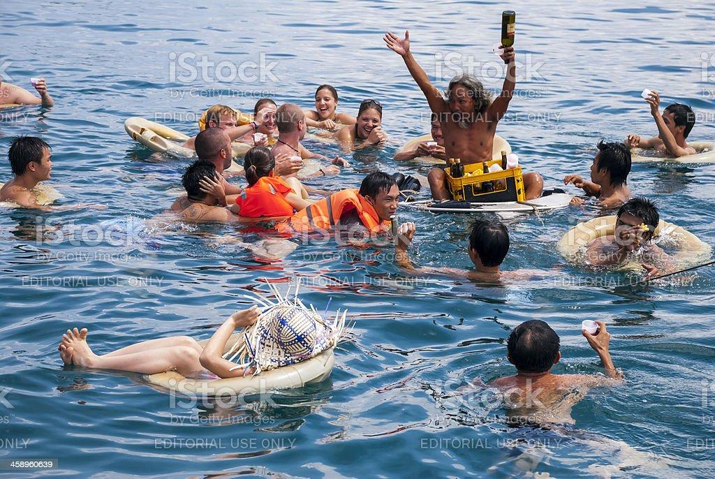 Nha Trang boat trip with floating bar royalty-free stock photo