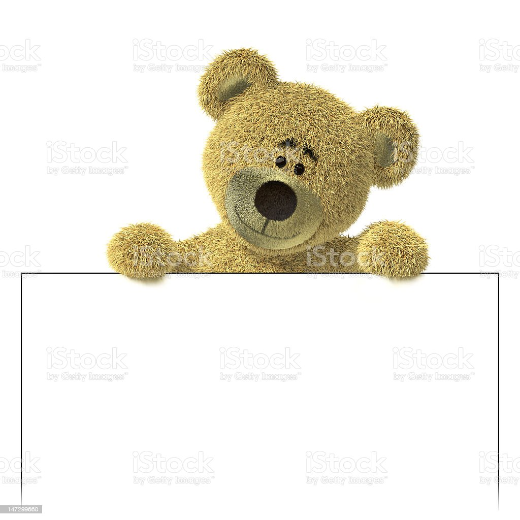 Nhi Bear above a white billboard. royalty-free stock photo
