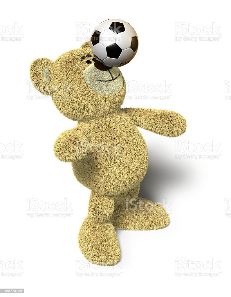Nhi Bear balances soccer ball on nose royalty-free stock photo