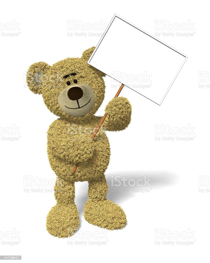 Nhi Bear holding a sign royalty-free stock photo