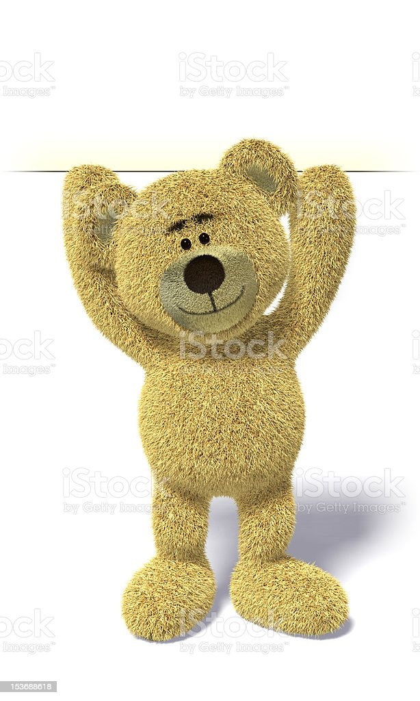 Nhi Bear holding a sign up high royalty-free stock photo
