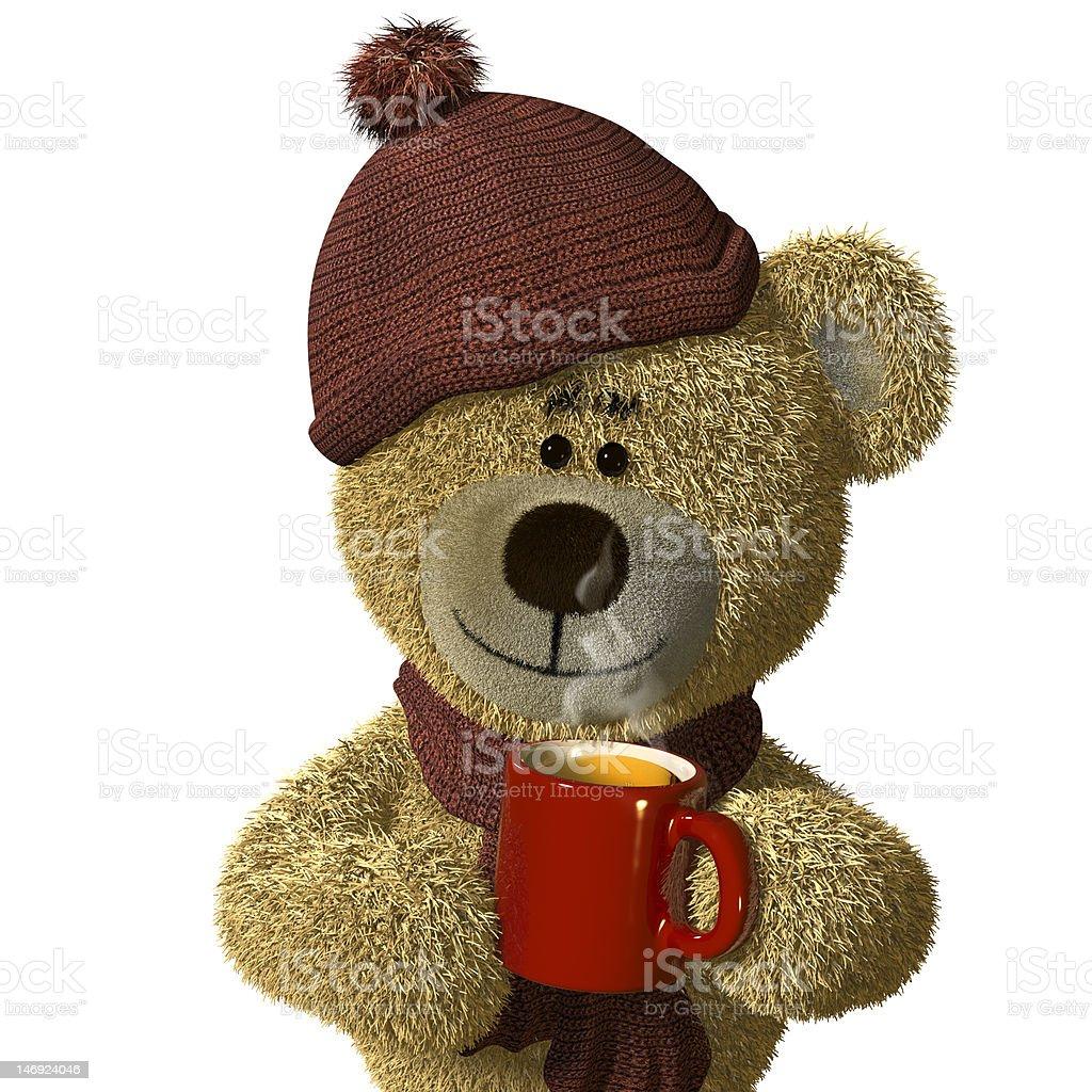 Nhi Bear holding a steaming mug of tea. royalty-free stock photo