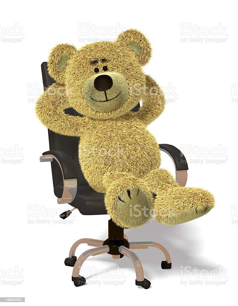 Nhi Bear in office chair royalty-free stock photo