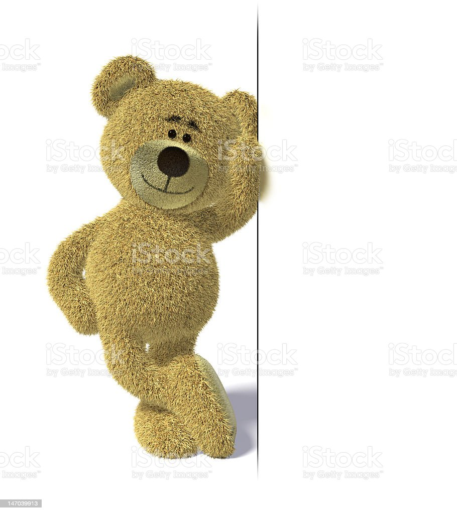 Nhi Bear leaning on a sign royalty-free stock photo