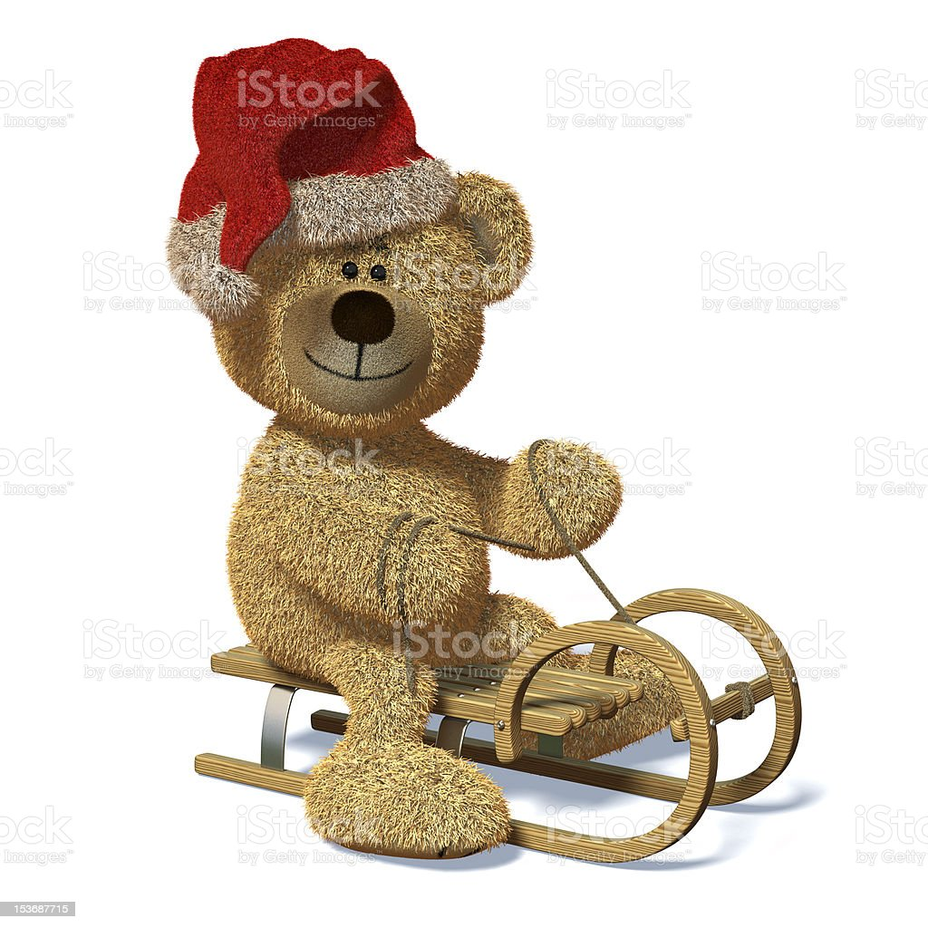 Nhi Bear on the sled royalty-free stock photo