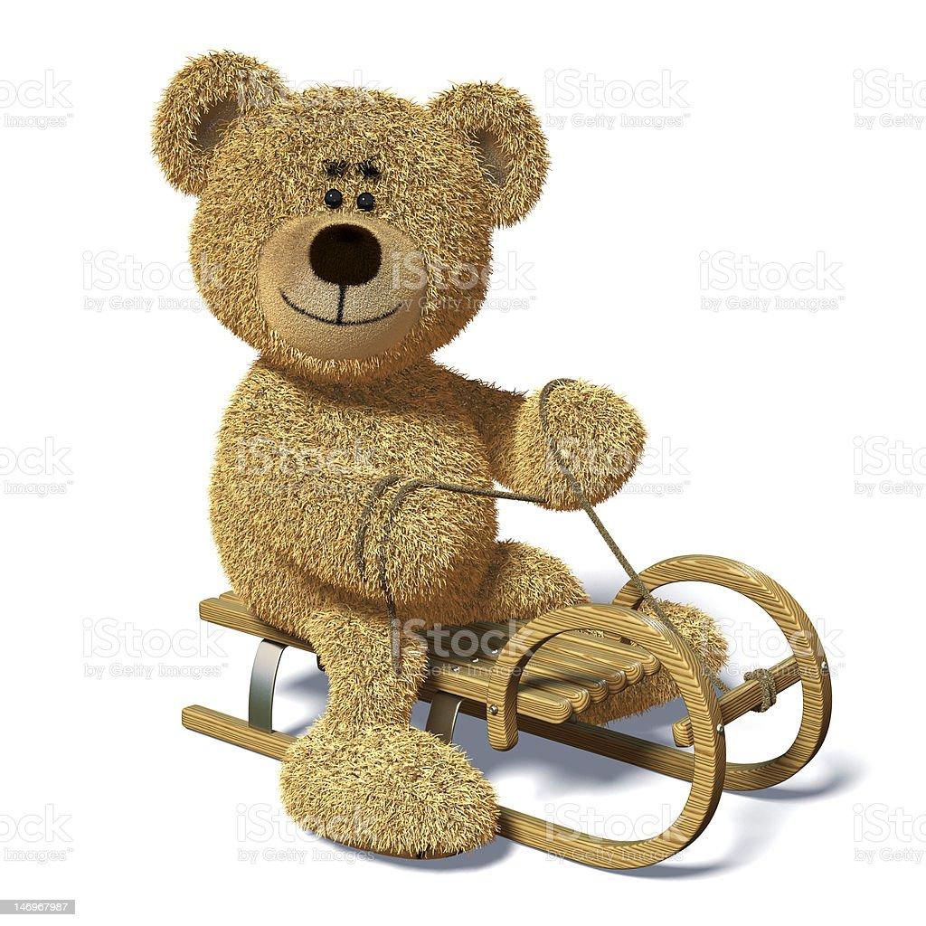 Nhi Bear on the sledge. royalty-free stock photo