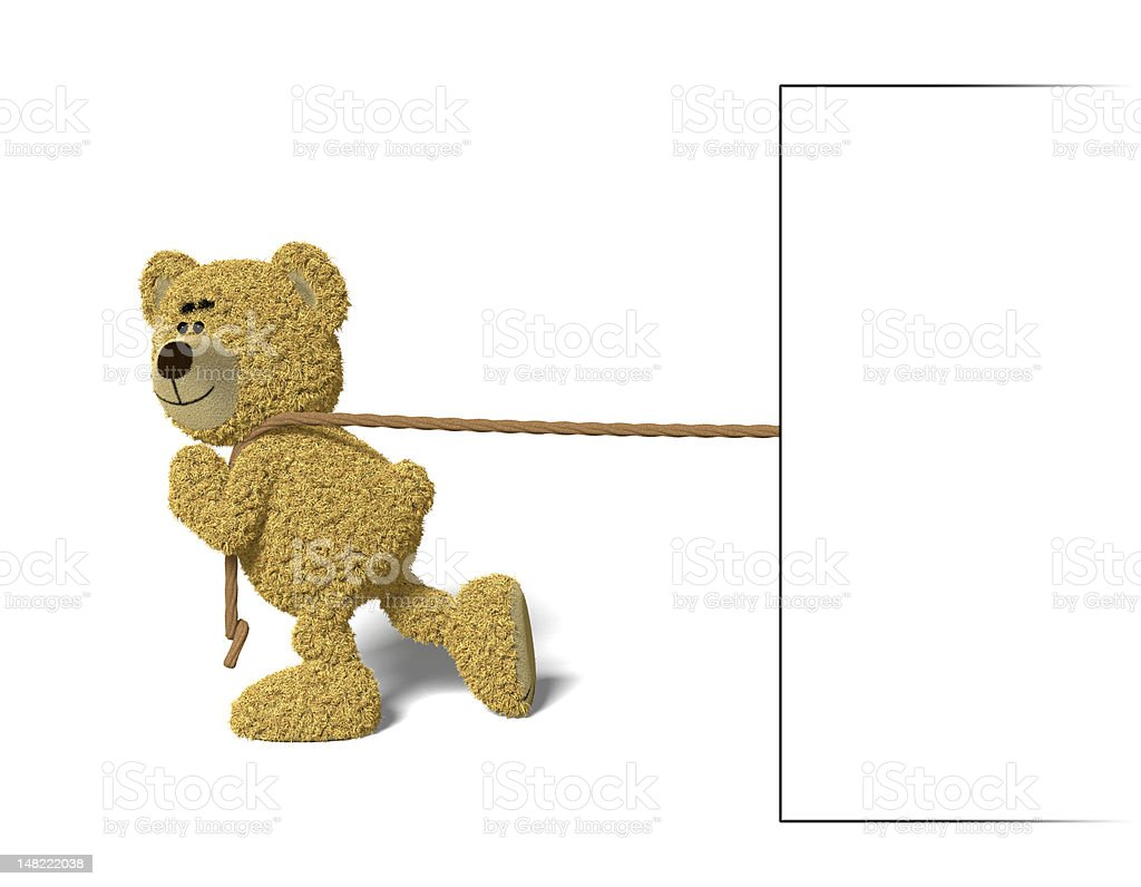 Nhi Bear pulling a billboard royalty-free stock photo