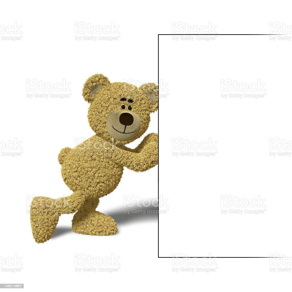 Nhi Bear pushing a billboard royalty-free stock photo