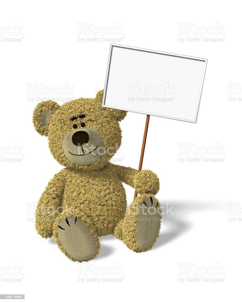Nhi Bear sitting holding a sign royalty-free stock photo