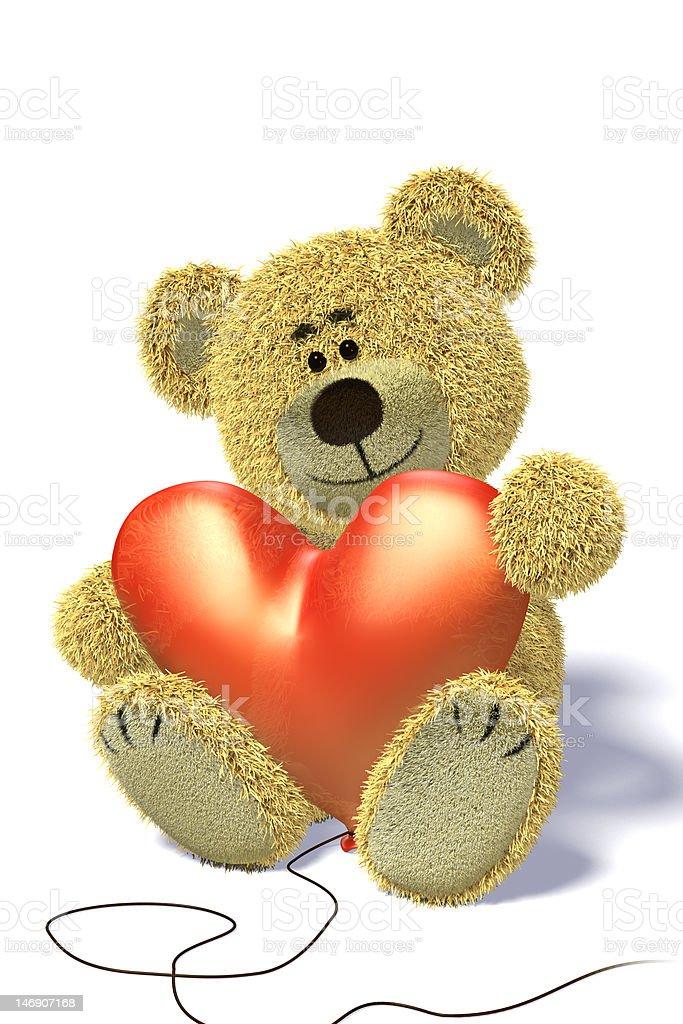 Nhi Bear with heart-shaped balloon having a break royalty-free stock photo
