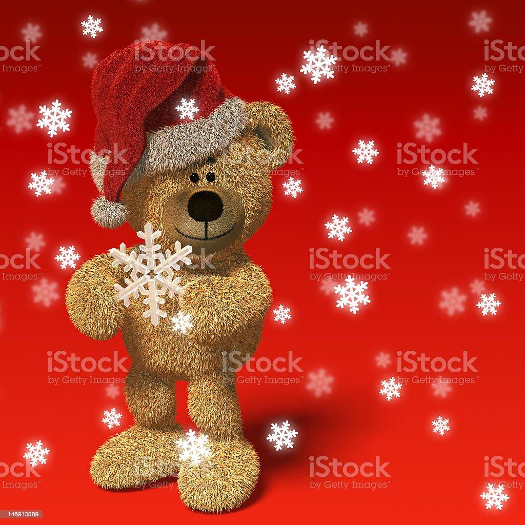 Nhi Bear with Santa's cap and snowflake royalty-free stock photo