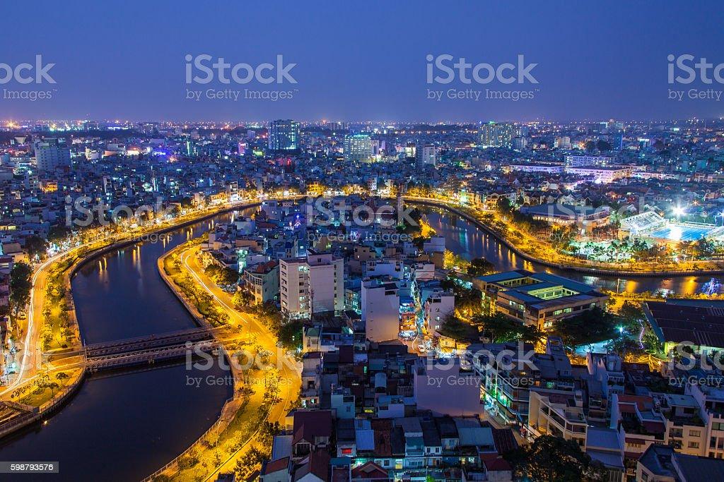 Nhieu Loc canal at night view at Saigon, Vietnam stock photo