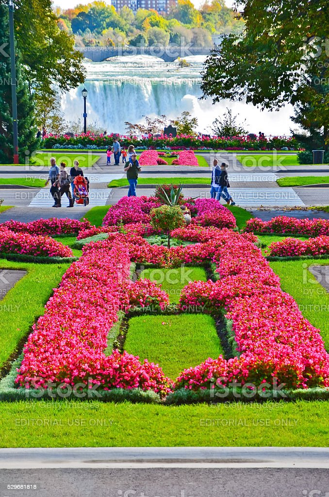 Niagara Falls and Queen Victoria Park in Canada stock photo