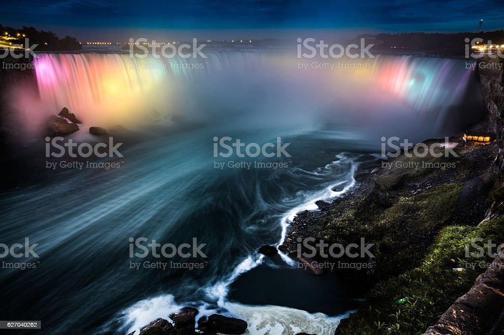 Niagara Falls at night - Canada - North America stock photo