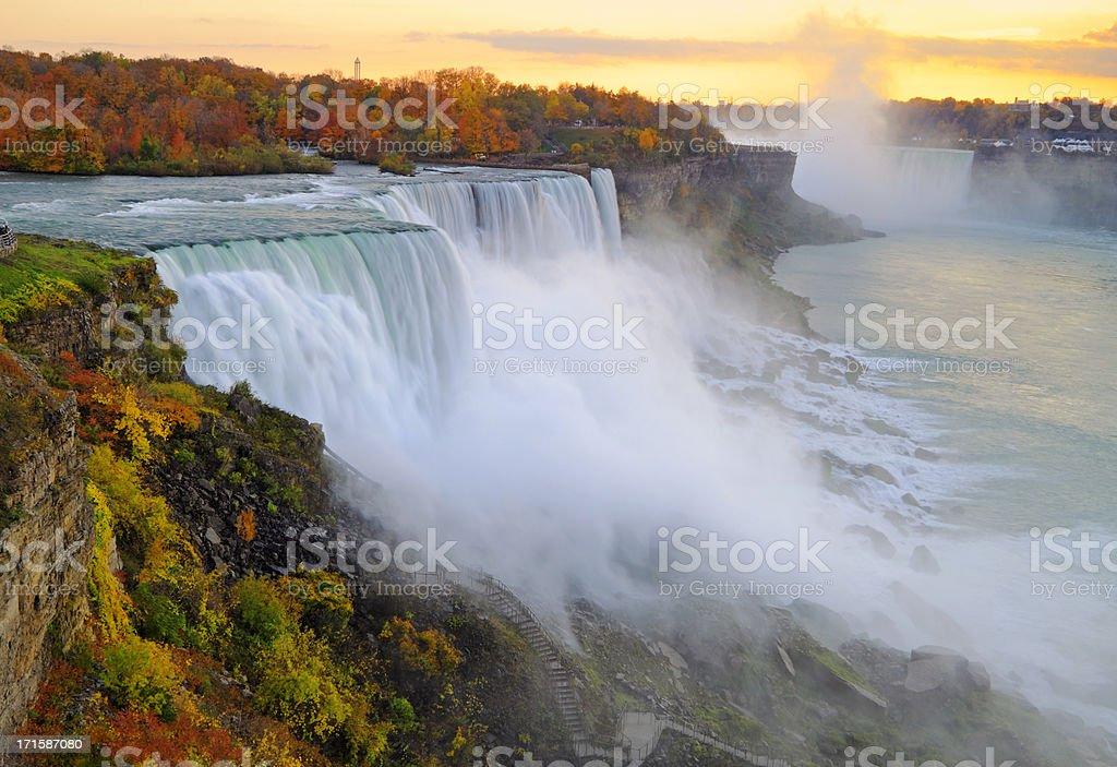 Niagara Falls Autumn Sunset stock photo