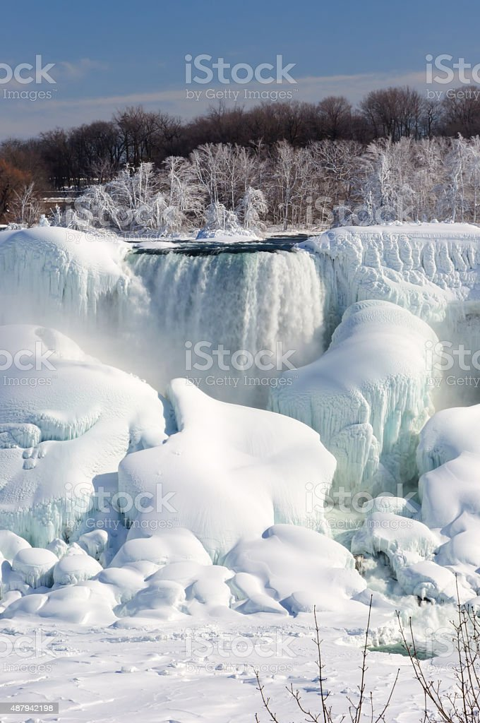 Niagara falls covered with snow and ice stock photo